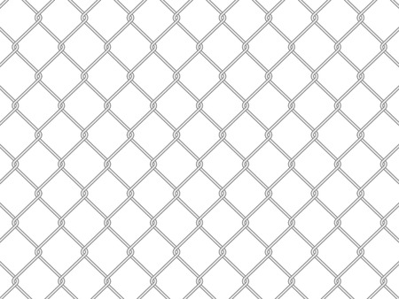 chainlink fence: wire fence on a white background. Vector illustration.
