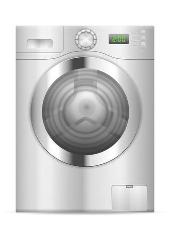 lavando ropa: Lavadora sobre un fondo blanco.
