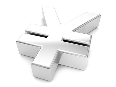silver yen symbol on a white background. photo