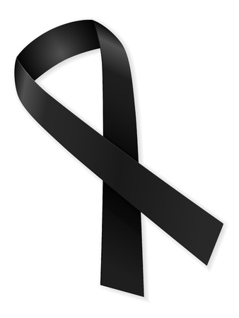 mourn: Mourning ribbon on a white background.