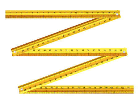 millimeters: Yellow folding ruler on a white background.