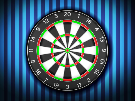 dartboard: Dartboard on a blue wall background. Illustration