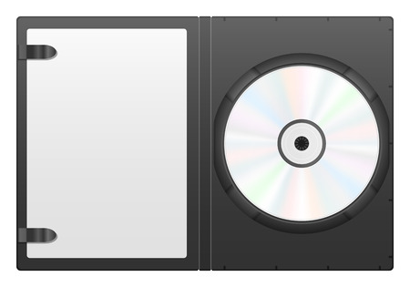 dvd case: Compact disc case and CD on a white background. Illustration