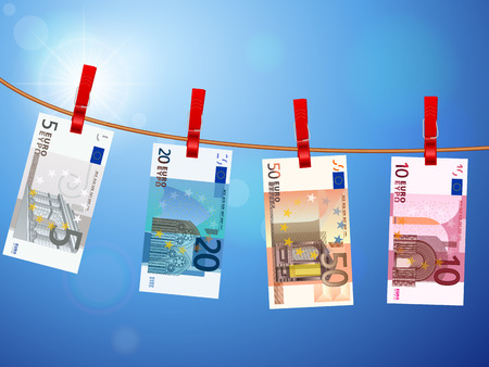 Euro banknotes hanging on a clothesline against a sky.