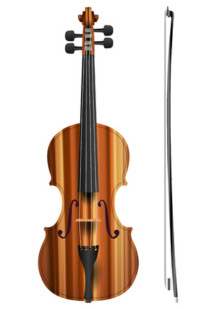 fiddle bow: Violin on a white background. Vector illustration.