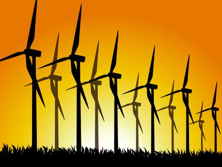 generators: Wind generators on a grassy field. Vector illustration.