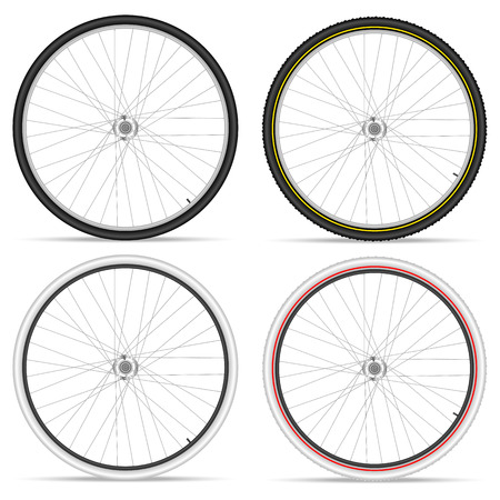 bicicleta vector: Ruedas de la bici sobre un fondo blanco. Ilustraci�n del vector.