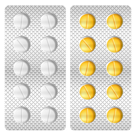 drugs pills: Blister medicine pill on a white background. Illustration