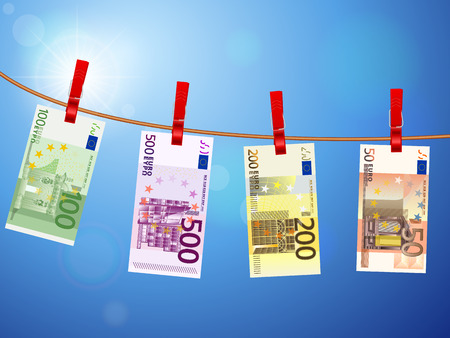Euro banknotes hanging on a clothesline against a sky. Vector