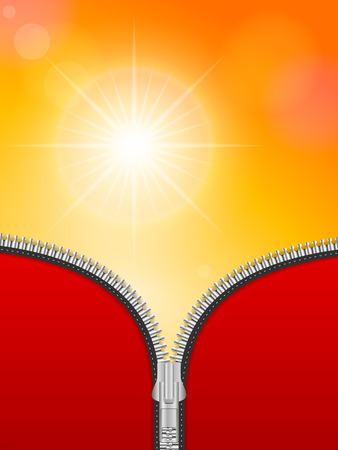 fastener: Opened zipper on a sky background.