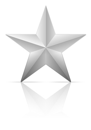 silver star: Silver star on a white background. Vector illustration.