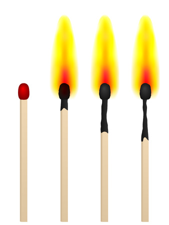 matchbox: match on fire on a white background. Vector illustration.