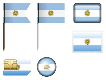 bandera argentina: Argentina flag fija en un fondo blanco.