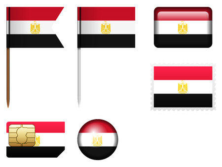 bandera de egipto: Bandera de Egipto fija en un fondo blanco.