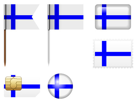FINLAND flag: Finland flag set on a white background.