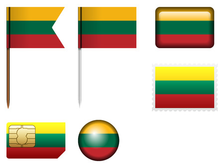 lithuania: Lithuania flag set on a white background. Illustration