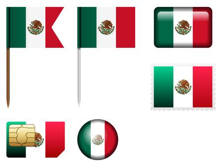 bandera mexico: Bandera de M�xico fija en un fondo blanco. Vectores