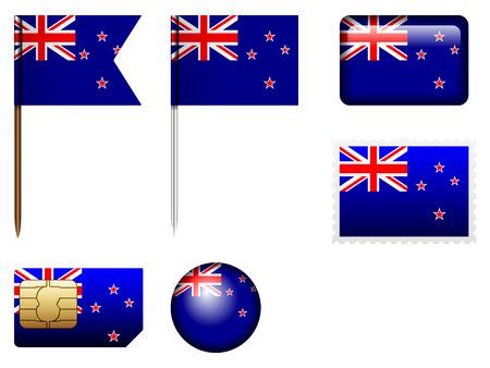 bandera de nueva zelanda: Bandera de Nueva Zelanda fija en un fondo blanco.