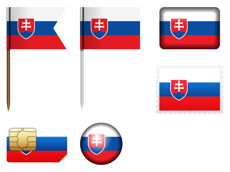 Slovakia flag set on a white background. Illustration