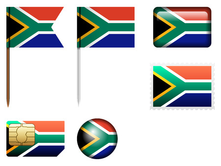 south africa flag: South Africa flag set on a white background.