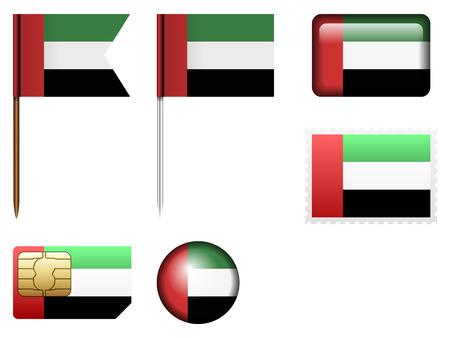 emirates: United Arab Emirates flag set on a white background.