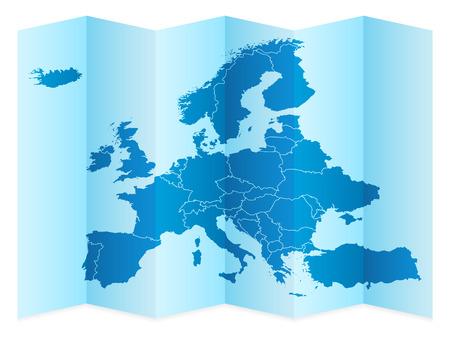 白い背景の上のヨーロッパの地図。ベクトルの図。