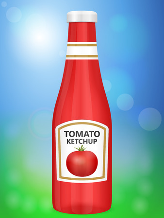 ketchup bottle: Tomato ketchup bottle on abstract background.