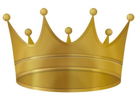 corona de reina: Corona de oro sobre un fondo blanco. Ilustraci�n del vector. Vectores