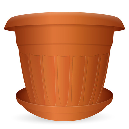 crock: Flowerpot with saucer on a white background. Vector illustration.