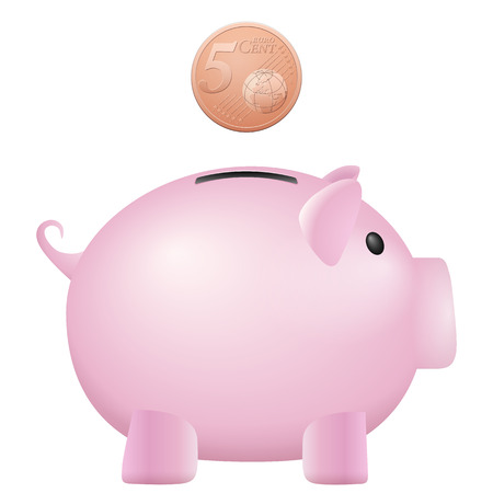 cent: Piggy bank five euro cent on a white background. Illustration