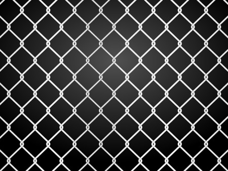 chainlink: wire fence on a black background. Vector illustration.