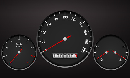 rev counter: Car dashboard elements on a black background.