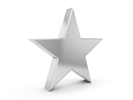 silver star: silver star symbol on a white background. Stock Photo