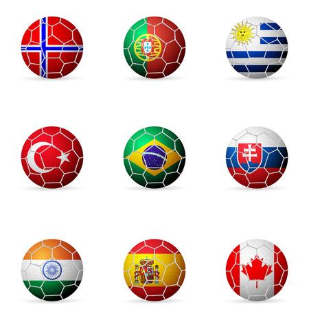 bandera uruguay: F�tbol Bandera del bal�n sobre un fondo blanco. Vectores