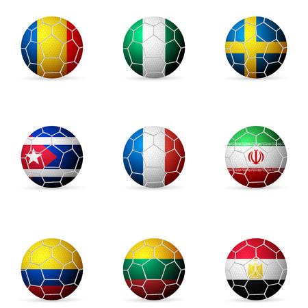 banni�re football: Ballon de football drapeau sur un fond blanc. Illustration
