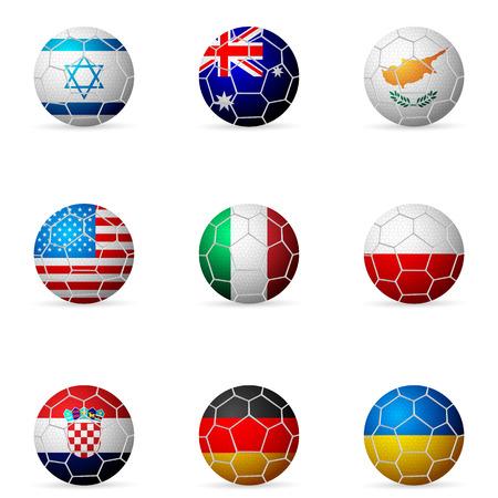 Soccer ball flag on a white background.