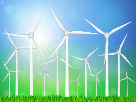 grassy: Wind generators on a grassy field. Vector illustration.