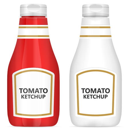 ketchup bottle: Tomato ketchup bottle on a white background.