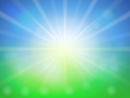 sunspot: Blue green abstract spring background. Illustration