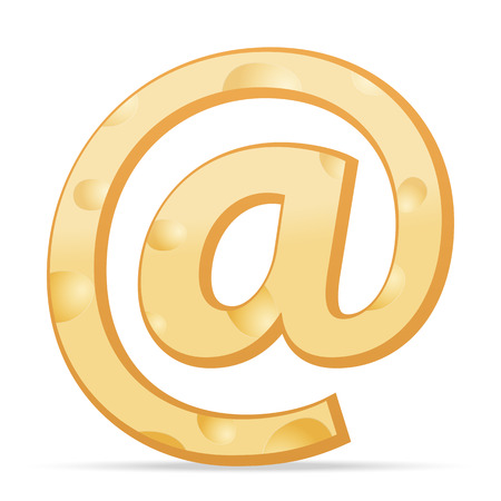 parmesan: Cheese email symbol on a white background. Vector illustration.