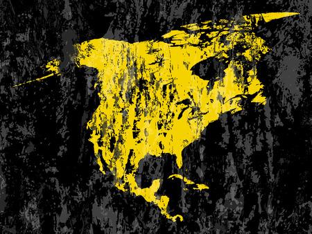 north america map: grunge Nord America mappa su uno sfondo nero. Vettoriali