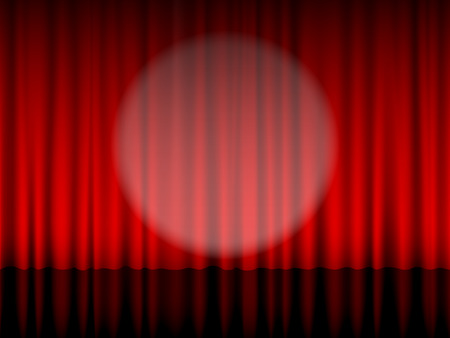theatre: Close view of a red theatre curtain.
