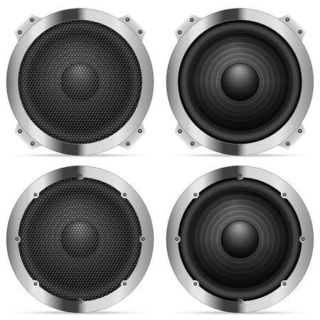 loud speaker: Sound speaker set on a white background. Illustration
