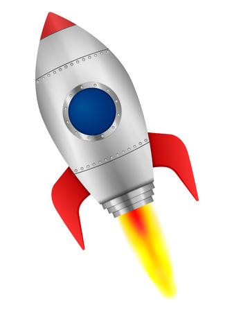 booster: Rocket sobre un fondo blanco.