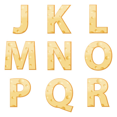 chunk: Cheese alphabet J to R on a white background.