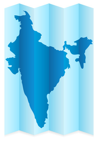 frontier: India map on a white background. Vector illustration.
