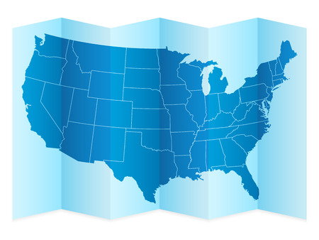 frontier: USA map on a white background. Vector illustration.