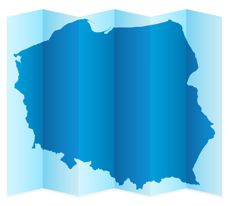 frontier: Poland map on a white background. Vector illustration.