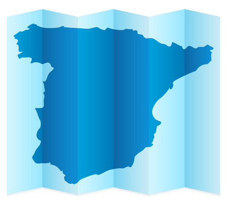 frontier: Spain map on a white background. Vector illustration.