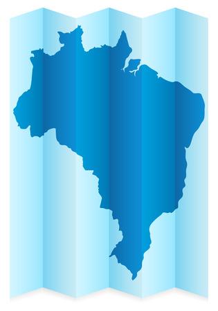 frontier: Brazil map on a white background. Vector illustration.